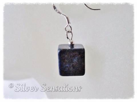 Dark Blue Lapis Lazuli Square Cube & Sterling Silver Short Drop Earrings